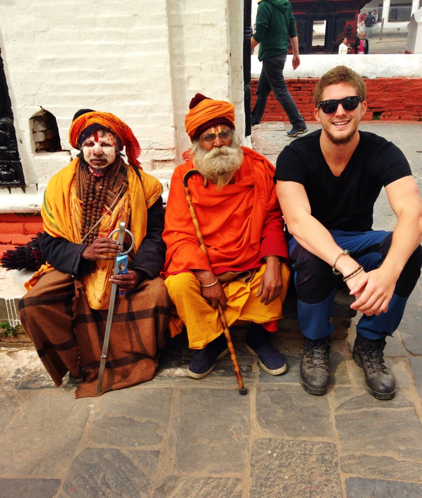 Posing with some fake Sadhu's. They dressed as holy men and took pictures in exchange for a few Rupees. Our guide was not overly fond of them.